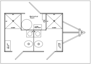 2 Station Shower and Restroom Combo Trailer Floor Plan