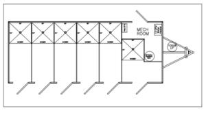 6 Station Private Shower Floor Plan